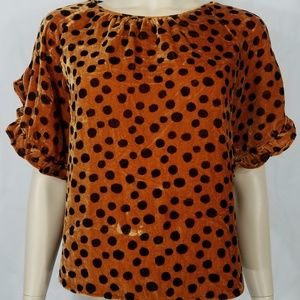 NWT brown black polka dot velour blouse XXS